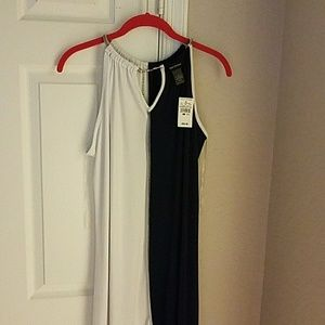 Long navy blue/white dress with chainlink neck